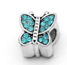 BLUE CRYSTAL BUTTERFLY CHARM BEAD FOR BRACELET OR NECKLACE