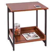 IRONCK End Tables Living Room, Side Table with Storage Shelf, Retro Red