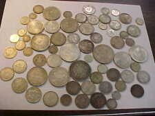 MIXED FOREIGN WORLD SILVER COINS  479  GRAMS SILVER LOT , SOME 1800 'S, WW II