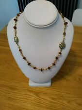 Vintage kitsch quirky pretty brown, milky glass metal bead strand long necklace