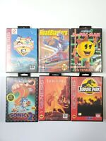 Sega Genesis Game Bundle Lot of 6 in Box Jurassic Park Animaniacs Ms Pacman CIB