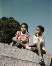 Two girls in a park near Union Station in Washington DC 1943 New 8x10 Photo