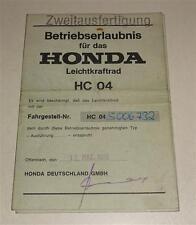 Betriebserlaubnis / Datenblatt / Typenschein Honda MBX 80 HC 04 Stand 03/1985