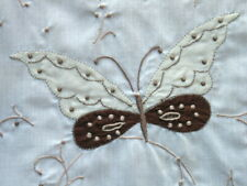 Vintage Madeira-style Embroidered White Hankie Brown & White  Butterfly Doily