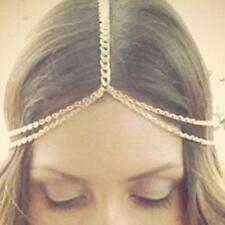 Women Gold Tone Crown Tassel Head Chain Headband Jewelry Headpiece Hair Band KJ