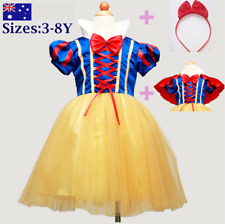 Girl Kid Princess Snow White Costume Party Dress Headband Cape size 3,4,5,6,7,8