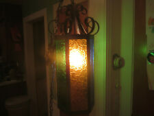 antique gothic wrought iron and color stain glass midevil hanging pendant chande