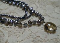 14K GOLD FILLED MULTI STRAND IRIDESCENT FRESHWATER PEARL & QUARTZ NECKLACE 18""