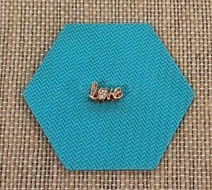 "Origami Owl Slider Rose Gold ""LOVE"" Slider w/ Swarovski Crystal - NEW - BS1014"