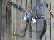 WESTERN HEADSTALL BREAST COLLAR BROWN GATOR TURQUOISE BLUE HORSE LEATHER BRIDLE