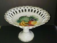 Ucagco Japan Ceramic Basketweave Hand Painted Fruit Footed Compote Candy Dish