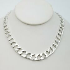 Sterling Silver 925 Solid 10mm Classic Flat Cuban Link Chain Necklace 16.5' In