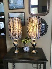 Gorgeous Pair Lamps Boudoir Gray White Elegant Fabric Silver w/ Shades