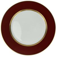Fitz and Floyd Renaissance Cinnabar Dinner Plate Rust/Red Band Gold Ring Japan