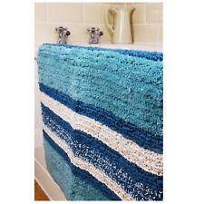 Teal Multi Tone Stripe Indoor Rug Bath Mat 50cm X 80cm 100 Cotton