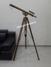 Nautical Brass Spyglass Marine Old Antique Telescope With Brown Tripod Stand