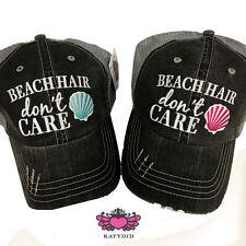 BASEBALL CAP- TRUCKER CAP -BLACK & PINK   BEACH  HAIR DON'T CARE  HAT -MESH HAT