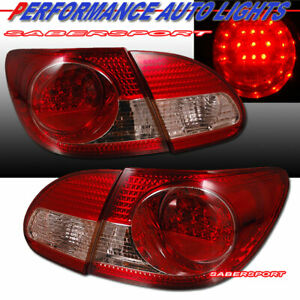 Set of 4pcs Red Lens LED Taillights for 2003-2007 Toyota Corolla