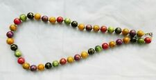 Bombona Seed-Wood Necklace Multi-colored Silver Color Metal Spacers & Clasp EUC