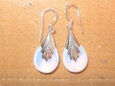 MOONSTONE SEA OPAL 925 STERLING SILVER GLASS OPALITE GLOWING TEAR DROP EARRINGS