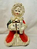Vintage Napco Christmas Shopping Girl Large Planter 1950's Gift Holly Mica Gold