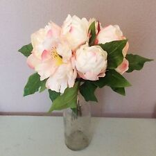 Bunch of 7 Pale Pink & White Artificial Peonies - Faux Silk Peony Flowers