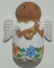 Clay Angel - Hand Painted Wall Hung Mexican Folk Art Style -Lute - Lucky Angel.