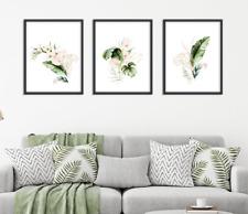 Botanical Leaf Prints Set of 3x Monstera Fern Palm Leaves Green & Gold Wall Art