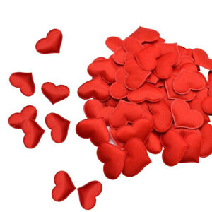 50 x Satin Sponge Fabric Heart Confetti Valentines Day Patch Bed Craft Love