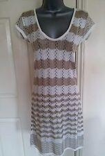 Robe 12 14 40 42 Medium M Romeo & Juliet Couture Fine Knit Crochet Blanc Beige