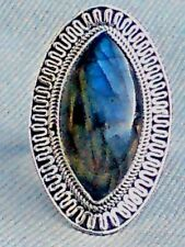 STERLING SILVER 40mm.RINGwith aUNIQUE LABRADORITE CABOCHON STONE UK sizeW £45.95