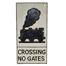 Train Crossing No Gates Railway Cast Iron Sign Plaque Wall Garage Train Tracks