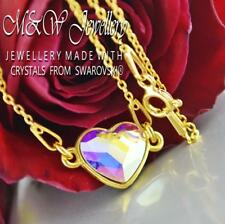Gold Pl. 925 Silver Chain Necklace Crystals From Swarovski® HEART - Crystal ab