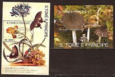 SAN TOME E PRINCIPE  2  blocs:fleurs avec papillon,champignons C122