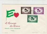 Belgium 1958  L'Europe da Coeur Europe Heart Slogan Cancel Stamps FDC Cover25446