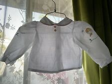 Vintage 70s 80s Baby Girl White Peter Pan Collar Shirt 12 Months Hearts Flowers