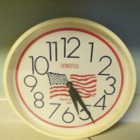 VINTAGE SPARTUS LARGE ELECTRIC WALL CLOCK WITH FLAG MADE IN USA 1991-WORKS!