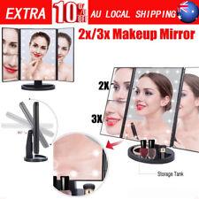 Tri-Fold 22 LED Light Makeup Mirror 1X 2X 3X Magnifying Desk Mirror Touch Button