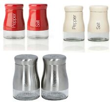SALT AND PEPPER SHAKER SET STAINLESS STEEL / RED / CREAM GLASS POT CONDIMENT JAR