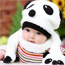Cute Baby Kids Winter Animal Beanie Panda Hat and Scarf Set Warm