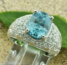 6.51 ct 18k White Gold Ladies Natural Diamond & Oval Blue Zircon Ring Cocktail