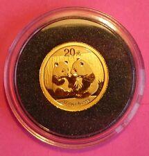 2009 China Panda oro 20 yuanes prueba como moneda y Certificado de Autenticidad