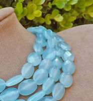 AQUA OCEAN BLUE GENUINE JADE CHUNKY JEWELRY multi STRAND big NECKLACE FACETED