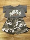 Build A Bear Workshop Camo Shorts and Brown Sweatshirt Outfit