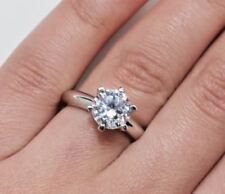 0.5 CT ROUND CUT DIAMOND SOLITAIRE ENGAGEMENT RING WHITE GOLD Enhanced Size 8.5