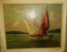 In the Manner of Edgar Payne  boats with partial signature.