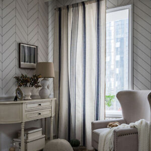 Striped Blackout Curtains for Living Room Bedroom Window Treatment Drapes Panels