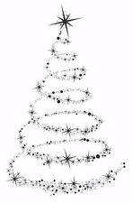 Star Tree Swirl Christmas Unmounted Rubber Stamp