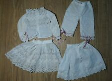 Antique! Amazing Embroidered 4 Piece Top Skirt Pantaloon 4 Bisque French Dolls