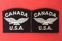 EARLY / WW2 / CANADIAN & USA / RAF / ROYAL AIR FORCE SHOULDER TITLE PATCH PAIR
